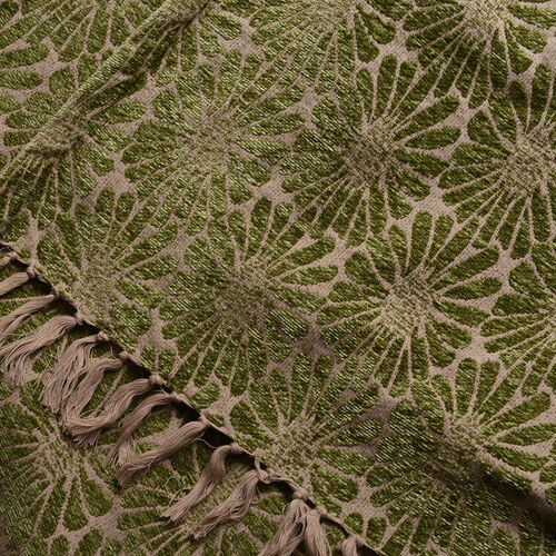 King Size Daisy Jacquard Woven Cotton Chenille Bedspread in Beige and Green Colour (260x240 cm)