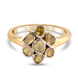 Artisan Crafted - Polki Yellow Diamond Floral Ring in Yellow Gold Overlay Sterling Silver 0.50 Ct.