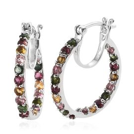 Rainbow Tourmaline (Rnd) Hoop Earrings (with Clasp Lock) in Platinum Overlay Sterling Silver 2.500 Ct. Silver wt 5.43 Gms.