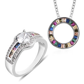 3 Piece Set - Simulated Rainbow Sapphire Ring and Pendant with Chain (Size 20 with 2.5 inch Extender