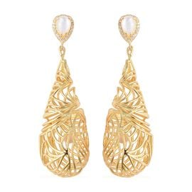 Isabella Liu Mother of Pearl and Zircon Drop Earrings in Gold Plated Silver