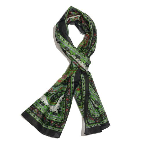 100% Mulberry Silk Green, Black and Multi Colour Handscreen Paisley Printed Scarf (Size 170X50 Cm)