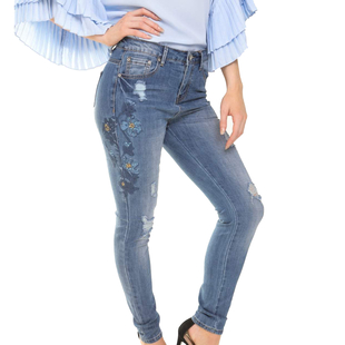 Mid Rinse Blue Floral Diamante Embellished High Waist Skinny Jeans