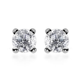 0.25 Ct Diamond Solitaire Stud Earrings in 9K White Gold SGL Certified I3 G H