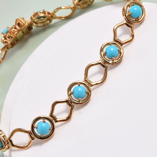 Arizona Sleeping Beauty Turquoise Bracelet (Size 7.5) in 14K Gold Overlay Sterling Silver, wt 10.00 Gms