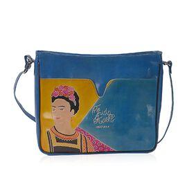 Sukriti 100% Genuine Leather Frida Kahlo Hand Painted Crossbody Bag (Size 27x7x24 Cm) with Zipper Cl