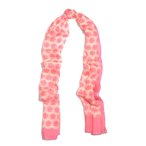 100% Mulberry Silk Pink and Peach Colour Floral Pattern Scarf (180x100 Cm)