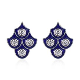 J Francis - Platinum Overlay Sterling Silver Enamelled Stud Earrings (with Push Back) Made with SWAR