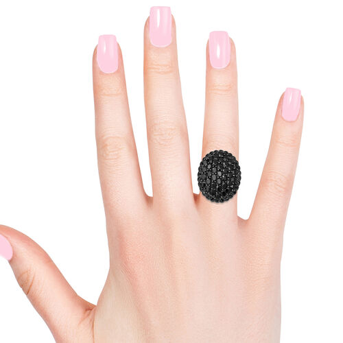 Natural Boi Ploi Black Spinel (Ovl and Rnd) Cluster Ring in Rhodium Overlay Sterling Silver 8.120 Ct., Silver Wt. 8.38 Gms
