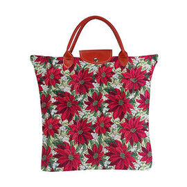 SIGNARE-Tapestry Collection - Xmas Poinsettias Foldable Large Tote Bag (36 x 36 Cms)