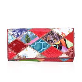 One Time Close Out Deal Multi Colour Wallet (Size 18.5x3x9 Cm) - Croc Embossed