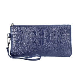 100% Genuine Leather RFID Protected Croc Embossed Wallet (Size 20x10 Cm) - Navy
