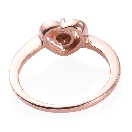 Diamond Heart Ring in Rose Gold Overlay Sterling Silver 0.01 Ct.