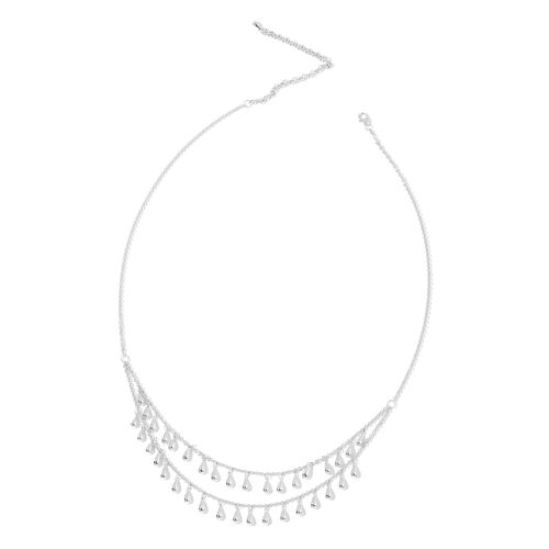 LucyQ Multi Drip Necklace (Size 23 with 5 inch Extender) in Rhodium Plated Sterling Silver 26.87 Gms.