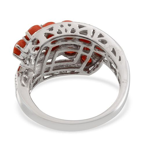 Natural Mediterranean Coral (Rnd) Ring in Platinum Overlay Sterling Silver
