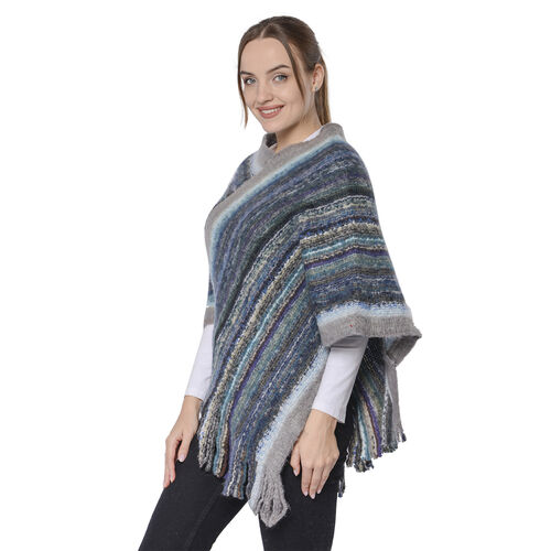 New Arrival Spring Style Striped Poncho with Grey Border and Tassel Hem
