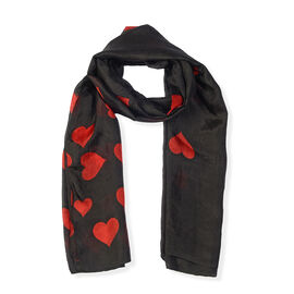 100% Mulberry Silk Heart Pattern Scarf (Size 180x100) - Black