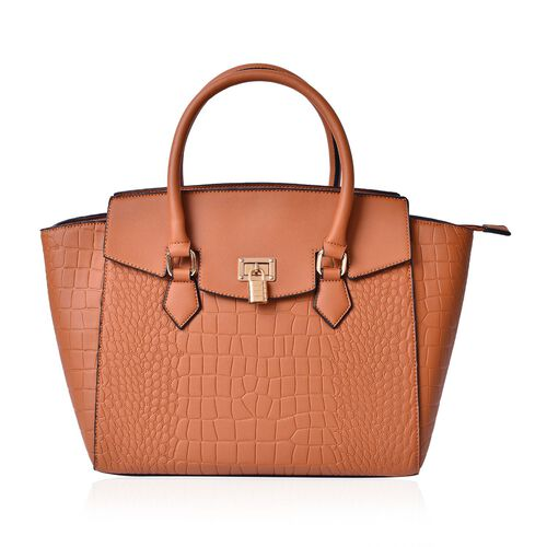 Crock Embossed Tan Colour Tote Bag (Size 43x29x14.5 Cm)