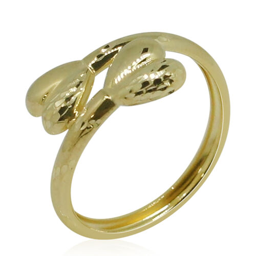 Designer Inspired 9K Yellow Gold Double Heart Crossover Ring
