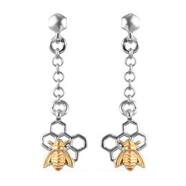 Platinum and Yellow Gold Overlay Sterling Silver Dangle Bee Earrings (with Push Back)