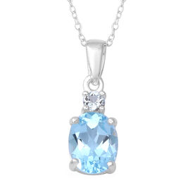 Sky Blue Topaz (Ovl and Rnd) Pendant With Chain (Size 18) in Sterling Silver 2.33 Ct.