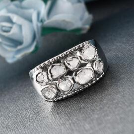 GP Polki Diamond ,Kanchanaburi Blue Sapphire  Ring in Platinum Overlay Sterling Silver 0.51 Ct,  Silver Wt. 5.70 Gms