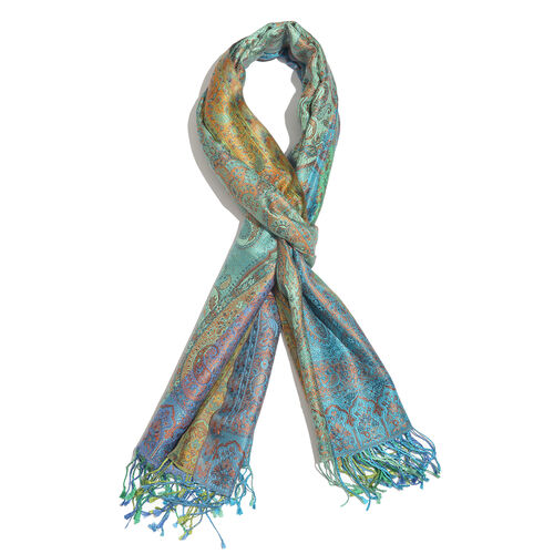 SILK MARK - 100% Superfine Silk Blue, Green and Multi Colour Paisley Pattern Reversible Jacquard Sca