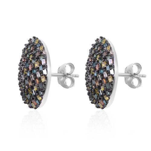 Red, Green, Blue, Yellow and Champagne Diamond Cluster Earrings (with Push Back) in Platinum Overlay Sterling Silver 1.00 Ct, Number of Diamond 146