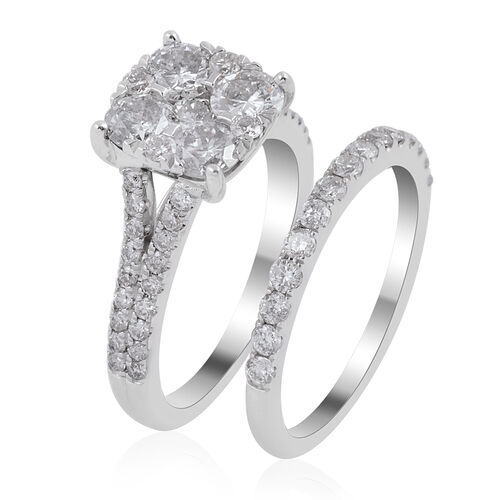 Set of 2 - New York Close Out Deal -14K White Gold Diamond (Rnd) (SI - I1/G-H) Ring 2.260 Ct, Gold wt 6.40 Gms.
