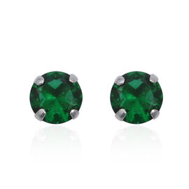 ELANZA Simulated Emerald Solitaire Stud Earrings in Sterling Silver