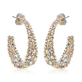 Mystic White Austrian Crystal (Rnd) Inside-out J-Hoop Earrings (with Push Back) in Gold Plated