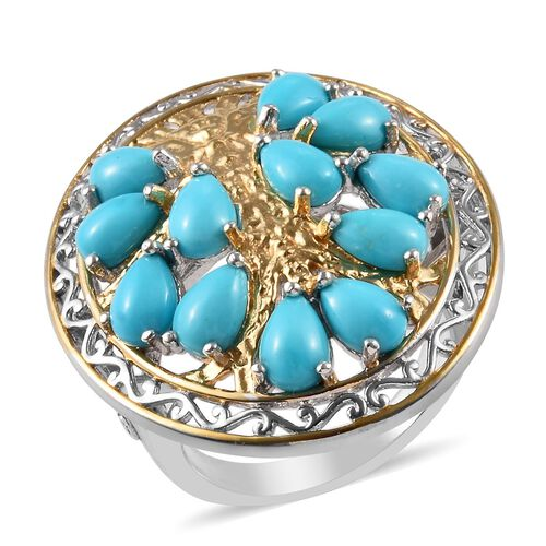 5 Ct AA Sleeping Beauty Turquoise Tree of life Ring in Platinum and Gold Plated Silver