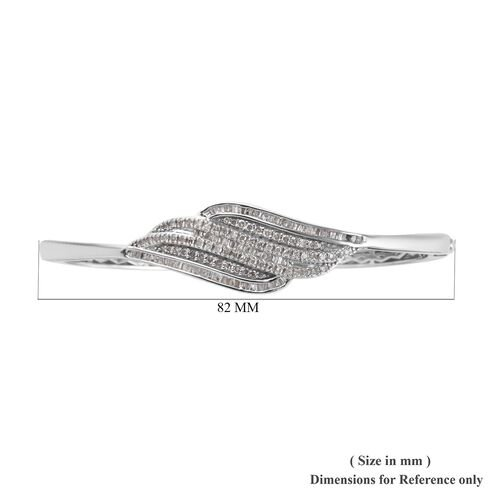 Diamond (Rnd) Bangle (Size 7.5) in Platinum Overlay Sterling Silver 1.00 Ct, Silver wt 18.00 Gms