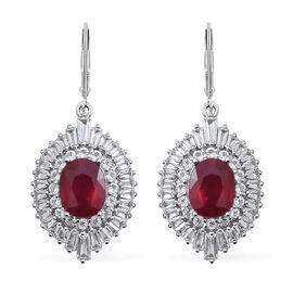 African Ruby (Ovl 9x7 mm), White Topaz Earrings in Rhodium Overlay Sterling Silver 9.150 Ct, Silver wt 5.00 Gms.
