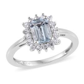 Espirito Santo Aquamarine (Oct), Natural Cambodian Zircon Ring in Platinum Overlay Sterling Silver 1