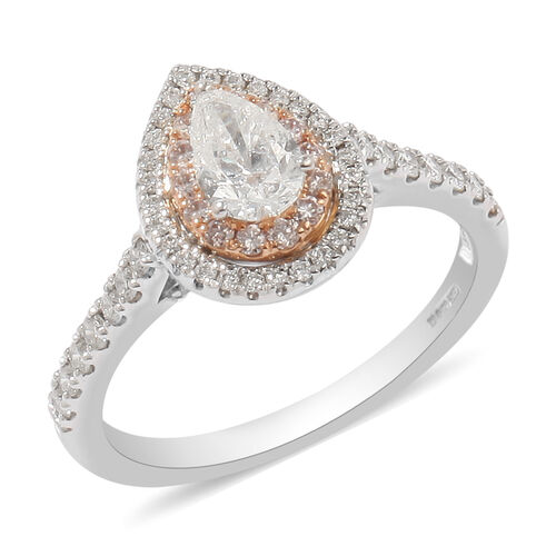NY Closeout- 14K White Gold GSI Certified White Diamond (SI2/G-H), Natural Pink Diamond Ring 1.00 Ct