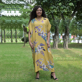 TAMSY 100% Viscose Womens Floral Pattern Dress (Size:80x130Cm) - Yellow