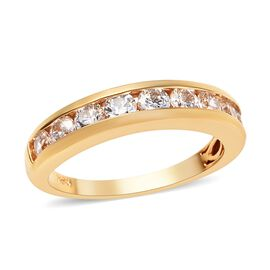 J Francis Made with SWAROVSKI ZIRCONIA Half Eternity Band Ring in Gold Plated Silver