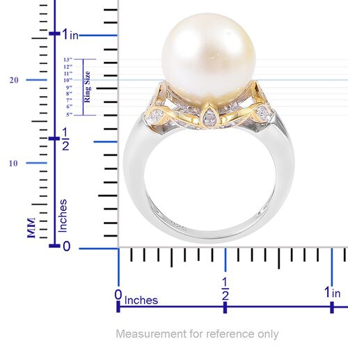 South Sea White Pearl (Rnd 12.5-13mm), Natural White Cambodian Zircon Ring in Platinum and Yellow Gold Overlay Sterling Silver