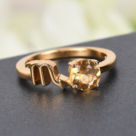 AA Citrine Zodiac-Scorpio Ring in 4K Gold Overlay Sterling Silver 0.75 Ct.