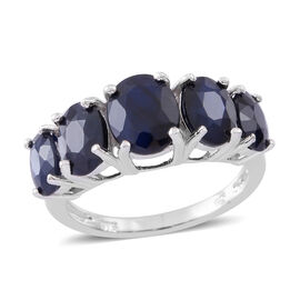 Madagascar Blue Sapphire (Ovl 9x7mm) 5 Stone Ring in Rhodium Plated Sterling Silver 7.500 Ct.