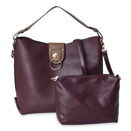 2 Piece Set - Wine Colour Satchel Bag (Size 40x34x13 Cm) and Crossbody Bag (26x18x6 Cm) with Detacha