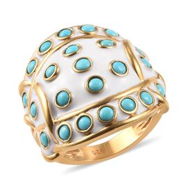 2 Carat Arizona Sleeping Beauty Turquoise Ring in Gold Plated Sterling Silver Ring 11.49 Grams