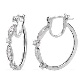 Natural Cambodian Zircon (Rnd) Hoop Earrings (with Clasp) in Platinum Overlay Sterling Silver 0.500