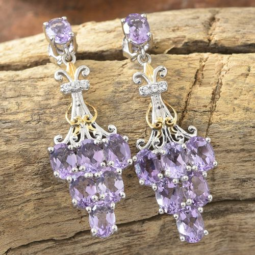 Rose De France Amethyst (Ovl), Natural Cambodian Zircon Earrings (with Push Back) in Platinum and Yellow Gold Overlay Sterling Silver 9.750 Ct. Silver wt 8.29 Gms.