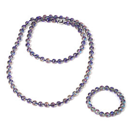 2 Piece Set -  Simulated Magic AB Crystal Necklace (Size 36) with Magnetic Lock and Stretchable Brac