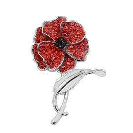 TJC Poppy Design - Red and Black Austrian Crystal Magnetic Poppy Brooch in Silver Plated