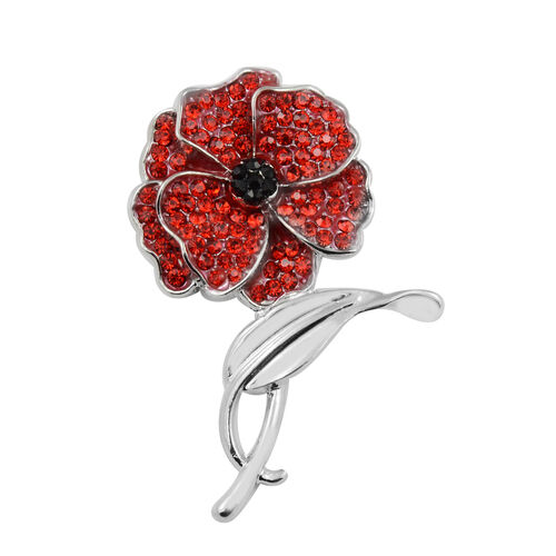 TJC Poppy Design - Red and Black Austrian Crystal Magnetic Poppy Brooch in Silver Tone