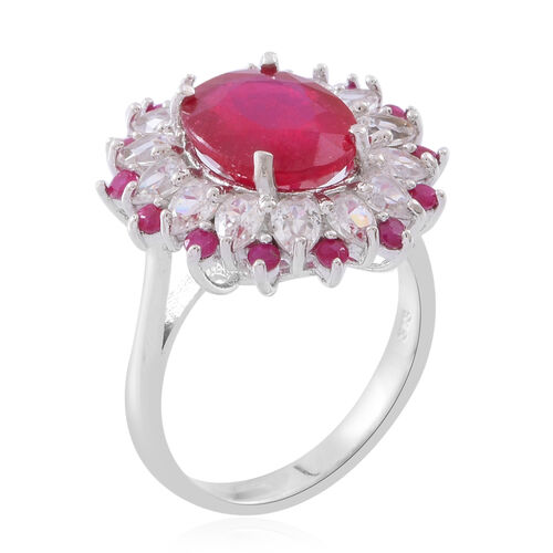 African Ruby (Ovl 6.00 Ct), Burmese Ruby and Natural White Cambodian Zircon Ring in Rhodium Plated Sterling Silver 8.750 Ct.