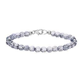 J Francis - Crystal From Swarovski Blue Shade Crystal Bracelet (Size 7.5) in Platinum Overlay Sterli